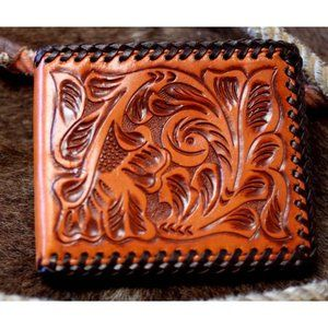 3D Western hand tooled leather bi-fold wallet